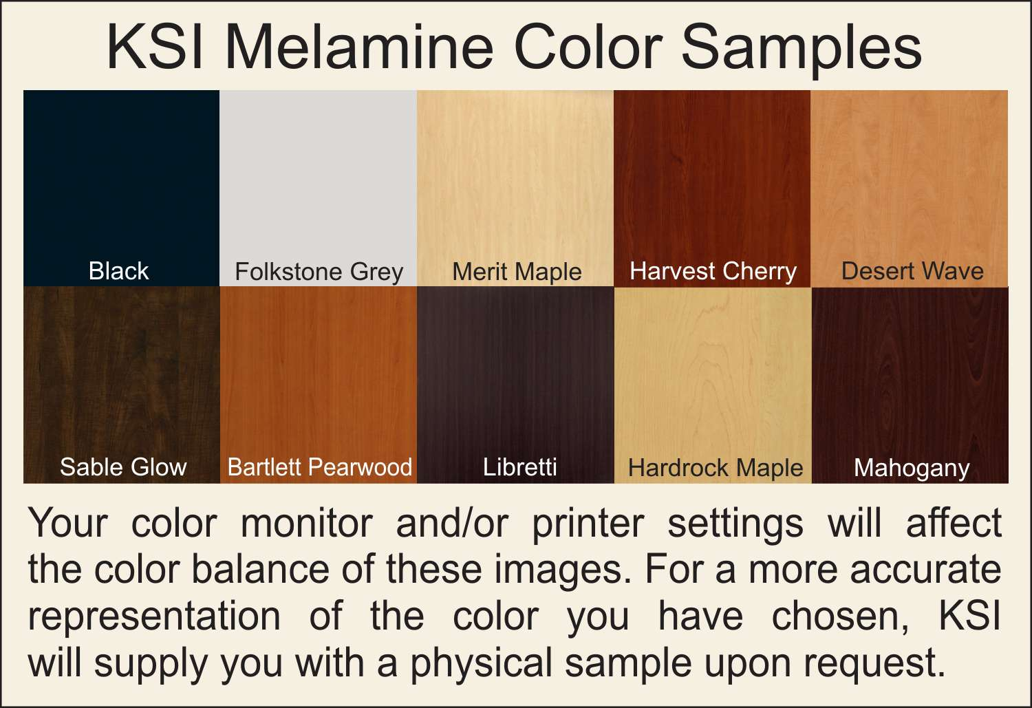 Color Samples for Melamine